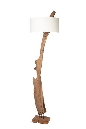 Vloerlamp drijfhout +kap