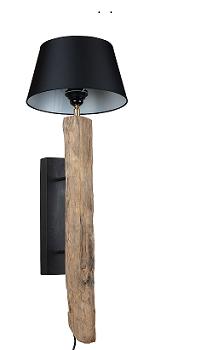 Wandlamp hout+kap