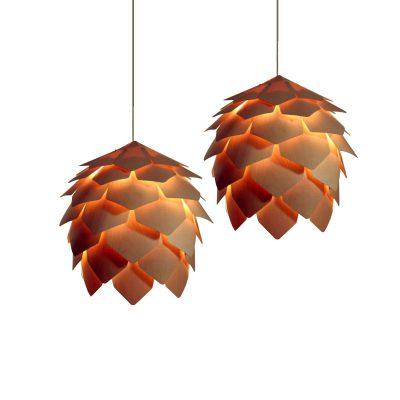 Hanglamp geschupt hout 60cm Ø